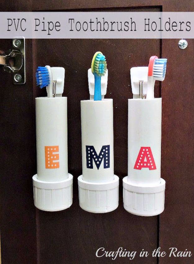 DIY Bathroom Storage Ideas - PVC Pipe Toothbrush Holders - Best Solutions for Under Sink Organization, Countertop Jars and Boxes, Counter Caddy With Mason Jars, Over Toilet Ideas and Shelves, Easy Tips and Tricks for Small Spaces To Organize Bath Products #storageideas #diybathroom #bathroomdecor