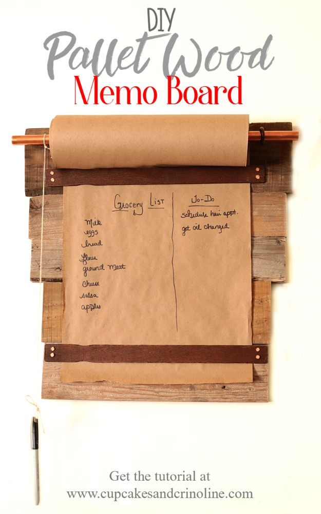 Best DIY Home Decor Crafts - Pallet Wood Memo Board - Easy Craft Ideas To Make From Dollar Store Items - Cheap Wall Art, Easy Do It Yourself Gifts, Modern Wall Art On A Budget, Tabletop and Centerpiece Tutorials - Cool But Affordable Room and Home Decor With Step by Step Tutorials #diyhomedecor