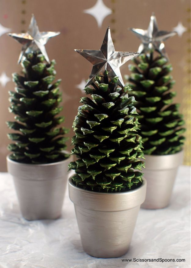 Cheap DIY Christmas Decor Ideas and Holiday Decorating On A Budget - Pine Cone Christmas Trees - Easy and Quick Decorating Ideas for The Holidays - Cool Dollar Store Crafts for Xmas Decorating On A Budget - wreaths, ornaments, bows, mantel decor, front door, tree and table centerpieces #christmas #diy #crafts