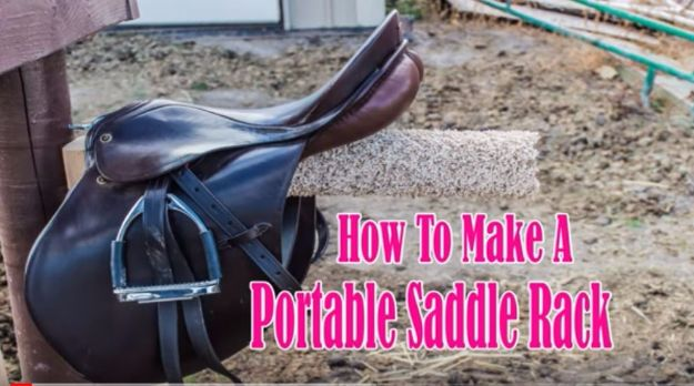 DIY Ideas With Carpet Scraps - Portable Saddle Rack - Cool Crafts To Make With Old Carpet Remnants - Cheap Do It Yourself Gifts and Home Decor on A Budget - Creative But Cheap Ideas for Decorating Your House and Room - Painted, No Sew and Creative Arts and Craft Projects http://diyjoy.com/diy-ideas-carpet-scraps