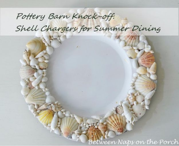 DIY Ideas With Sea Shells - Pottery Barn Knock-Off Shell Chargers - Best Cute Sea Shell Crafts for Adults and Kids - Easy Beach House Decor Ideas With Sand and Large Shell Art - Wall Decor and Home, Bedroom and Bath - Cheap DIY Projects Make Awesome Homemade Gifts http://diyjoy.com/diy-ideas-sea-shells