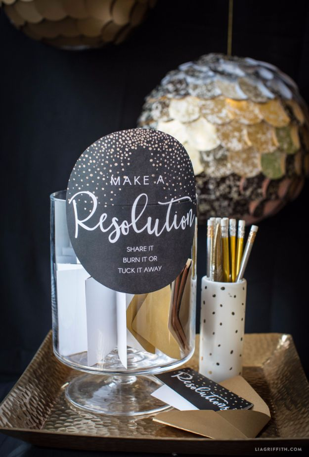 New Years Eve Decor Ideas - Printable New Year's Resolution Cards - DIY New Year's Eve Decorations - Cheap Ideas for Banners, Balloons, Party Tables, Centerpieces and Festive Streamers and Lights - Cool Placecards, Photo Backdrops, Party Hats, Party Horns and Champagne Glasses - Cute Invitations, Games and Free Printables #diy #newyearseve #parties