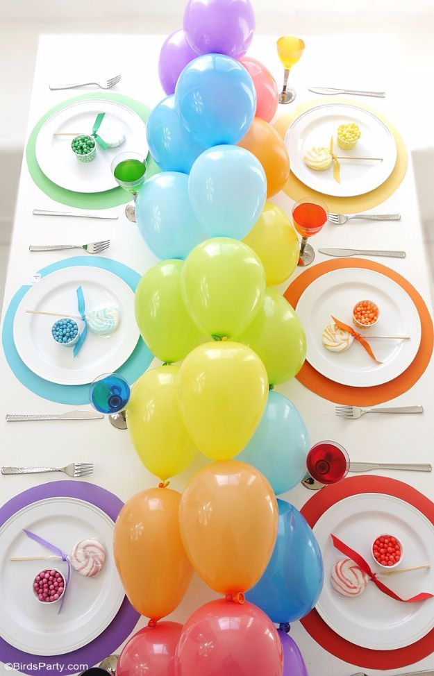 Balloon Crafts - Rainbow Tablescape & DIY Balloon Garland - Fun Balloon Craft Ideas, Wall Art Projects and Cute Ballon Decor - DIY Balloon Ideas for Toddlers, Preschool Kids, Teens and Adults - Cheap Crafts Made With Balloons - Pumpkins, Bowls, Marshmallow Shooters, Balls, Glow Stick, Hot Air, Stress Ball http://diyjoy.com/balloon-crafts