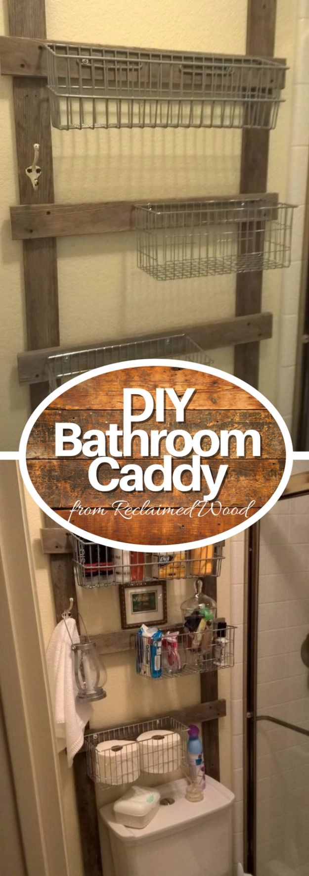 DIY Bathroom Storage Ideas - Reclaimed Bathroom Caddy - Best Solutions for Under Sink Organization, Countertop Jars and Boxes, Counter Caddy With Mason Jars, Over Toilet Ideas and Shelves, Easy Tips and Tricks for Small Spaces To Organize Bath Products http://diyjoy.com/diy-bathroom-storage-ideas
