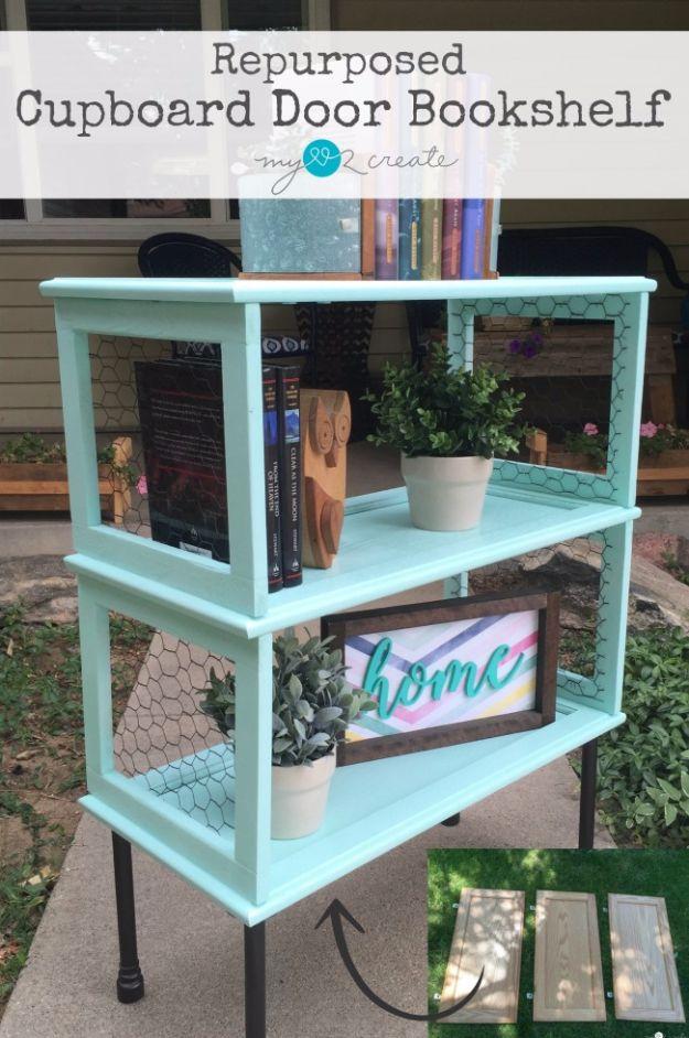 Best Furniture Hacks - Repurposed Cupboard Door Bookshelf - Easy DIY Furniture Makeover Ideas for Cheap Home Decor - IKEA Hack Tutorials, Dressers, Cribs, Storage, For Kids, Bedroom and Good Ideas for Bath - Anthropologie, Walmart, Kmart, Target http://diyjoy.com/best-furniture-hacks