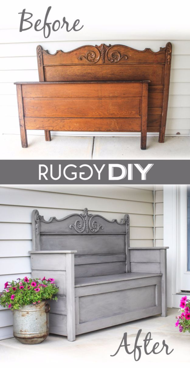 Best Furniture Hacks - Repurposed Headboard Bench - Easy DIY Furniture Makeover Ideas for Cheap Home Decor - IKEA Hack Tutorials, Dressers, Cribs, Storage, For Kids, Bedroom and Good Ideas for Bath - Anthropologie, Walmart, Kmart, Target http://diyjoy.com/best-furniture-hacks