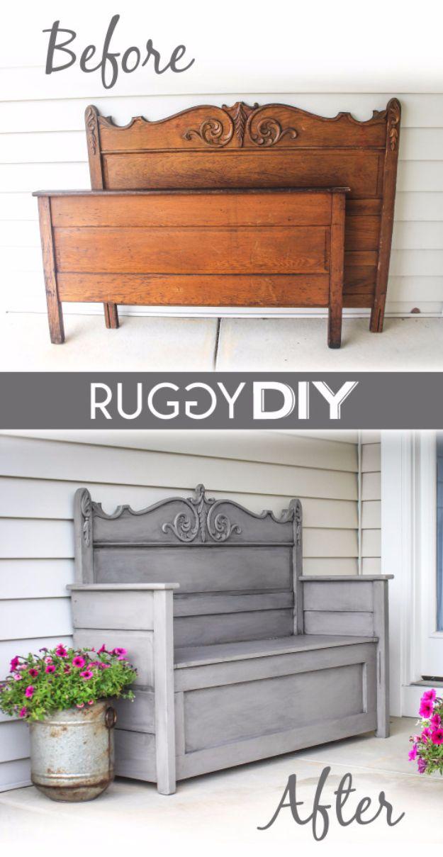 Best Furniture Hacks - Repurposed Headboard Bench - Easy DIY Furniture Makeover Ideas for Cheap Home Decor - IKEA Hack Tutorials, Dressers, Cribs, Storage, For Kids, Bedroom and Good Ideas for Bath - Anthropologie, Walmart, Kmart, Target http://diyjoy.com/best-furniture-hacks