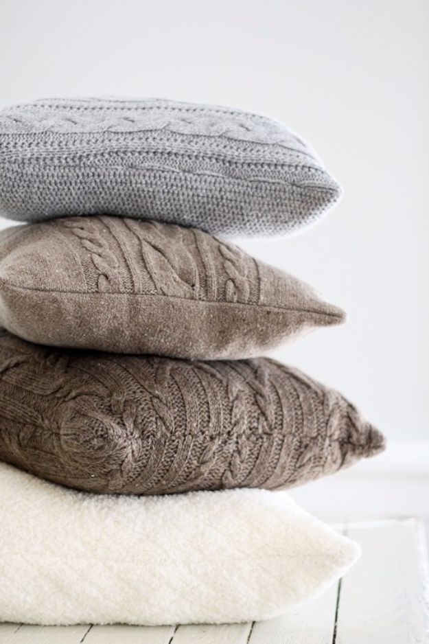 Best DIY Home Decor Crafts - Repurposed Sweater Pillows - Easy Craft Ideas To Make From Dollar Store Items - Cheap Wall Art, Easy Do It Yourself Gifts, Modern Wall Art On A Budget, Tabletop and Centerpiece Tutorials - Cool But Affordable Room and Home Decor With Step by Step Tutorials #diyhomedecor