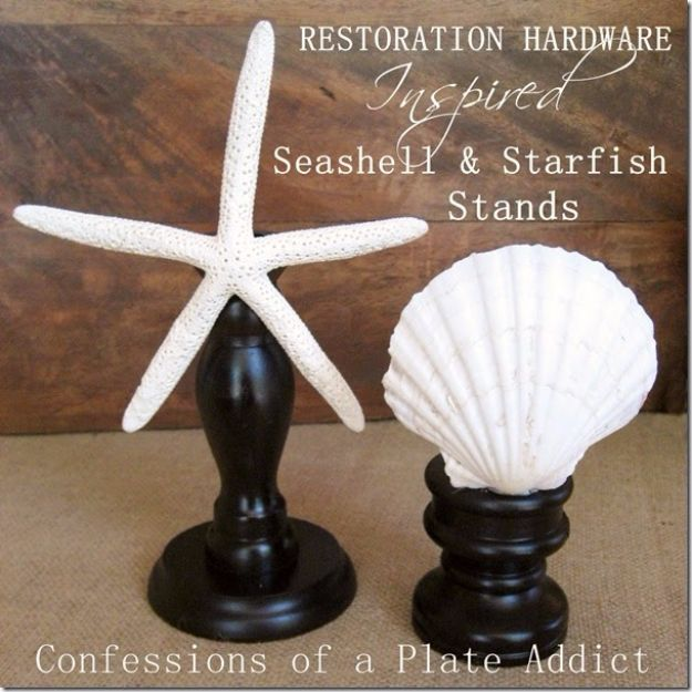 DIY Ideas With Sea Shells - Restoration Hardware Inspired Seashell & Starfish Stands - Best Cute Sea Shell Crafts for Adults and Kids - Easy Beach House Decor Ideas With Sand and Large Shell Art - Wall Decor and Home, Bedroom and Bath - Cheap DIY Projects Make Awesome Homemade Gifts http://diyjoy.com/diy-ideas-sea-shells