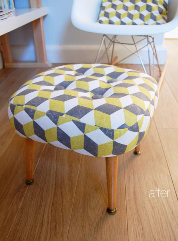 Best Furniture Hacks - Reupholstered Foot Stool - Easy DIY Furniture Makeover Ideas for Cheap Home Decor - IKEA Hack Tutorials, Dressers, Cribs, Storage, For Kids, Bedroom and Good Ideas for Bath - Anthropologie, Walmart, Kmart, Target http://diyjoy.com/best-furniture-hacks