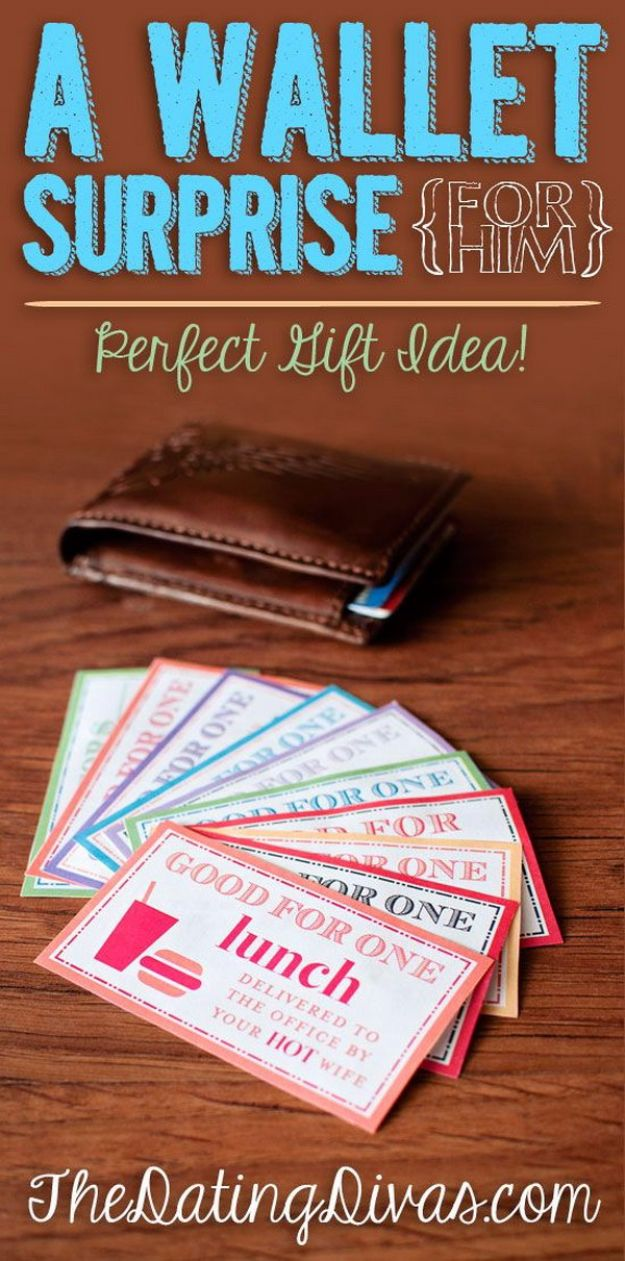 DIY Valentines Day Gifts for Him - Romantic Wallet Surprise - Cool and Easy Things To Make for Your Husband, Boyfriend, Fiance - Creative and Cheap Do It Yourself Projects to Give Your Man - Ideas Guys Love These Ideas for Car, Yard, Home and Garage - Make, Don't Buy Your Valentine