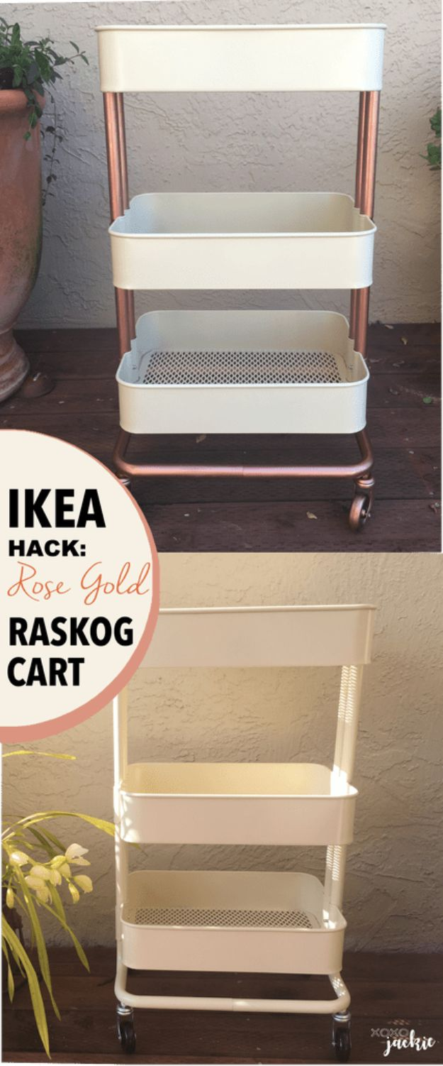 IKEA Hacks For The Bedroom - Rose Gold Raskog Cart - Best IKEA Furniture Hack Ideas for Bed, Storage, Nightstand, Closet System and Storage, Dresser, Vanity, Wall Art and Kids Rooms - Easy and Cheap DIY Projects for Affordable Room and Home Decor #ikeahacks #diydecor #bedroomdecor