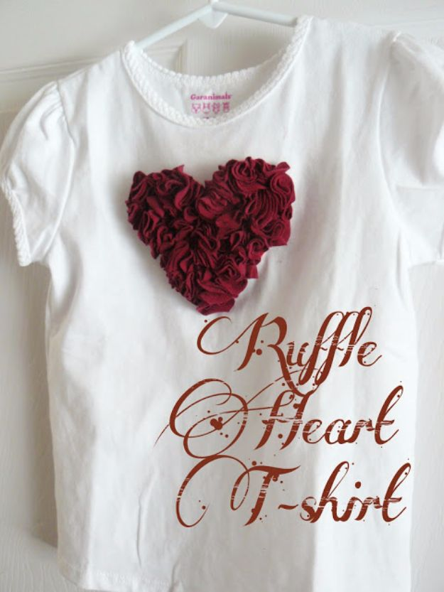 DIY Valentines Day Gifts for Her - Ruffle Heart T-shirt - Cool and Easy Things To Make for Your Wife, Girlfriend, Fiance - Creative and Cheap Do It Yourself Projects to Give Your Girl - Ladies Love These Ideas for Bath, Yard, Home and Kitchen, Outdoors - Make, Don't Buy Your Valentine