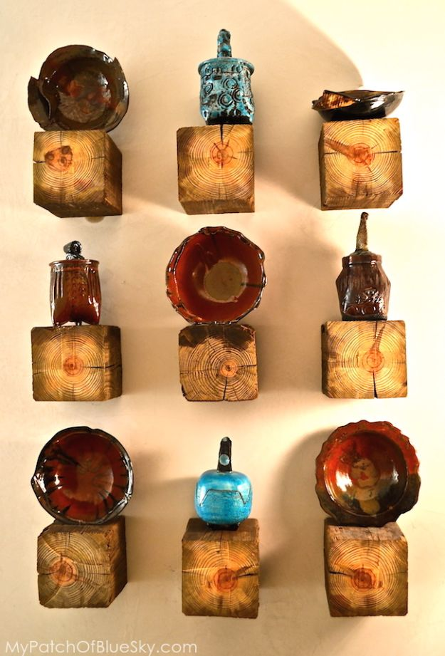 Best DIY Home Decor Crafts - Rustic Elegant Pottery Display Shelves - Easy Craft Ideas To Make From Dollar Store Items - Cheap Wall Art, Easy Do It Yourself Gifts, Modern Wall Art On A Budget, Tabletop and Centerpiece Tutorials - Cool But Affordable Room and Home Decor With Step by Step Tutorials #diyhomedecor