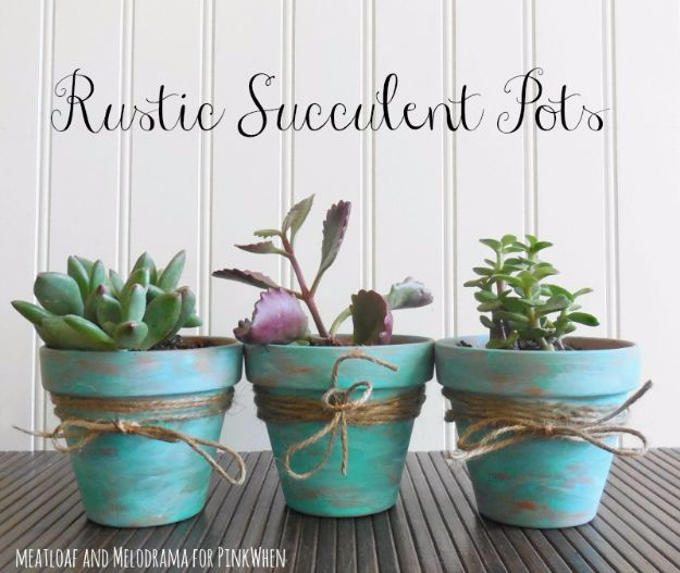 Best DIY Home Decor Crafts - Rustic Succulent Pots - Easy Craft Ideas To Make From Dollar Store Items - Cheap Wall Art, Easy Do It Yourself Gifts, Modern Wall Art On A Budget, Tabletop and Centerpiece Tutorials - Cool But Affordable Room and Home Decor With Step by Step Tutorials #diyhomedecor