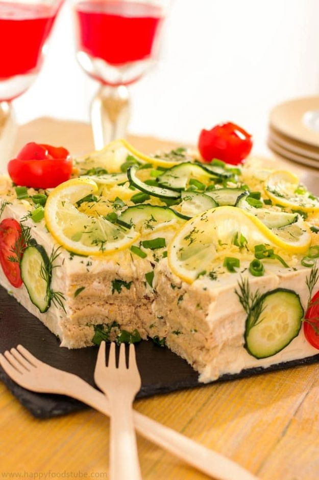 New Years Eve Party Recipes - Savory Tuna Sandwich Cake - Best New Year Drinks, Cocktails, Appetizers and Party Foods for Your New Year's Eve Celebration - Quick Desserts, Snacks, Dips, Finger Foods, Cake and Champagne Toast Recipe Ideas - Fun and Easy Foods To Serve For A Crowd #newyears #recipes