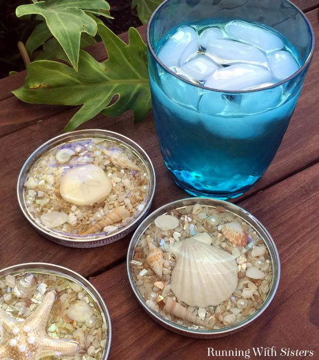 DIY Ideas With Sea Shells - Seashell Coasters Made With Resin - Best Cute Sea Shell Crafts for Adults and Kids - Easy Beach House Decor Ideas With Sand and Large Shell Art - Wall Decor and Home, Bedroom and Bath - Cheap DIY Projects Make Awesome Homemade Gifts http://diyjoy.com/diy-ideas-sea-shells