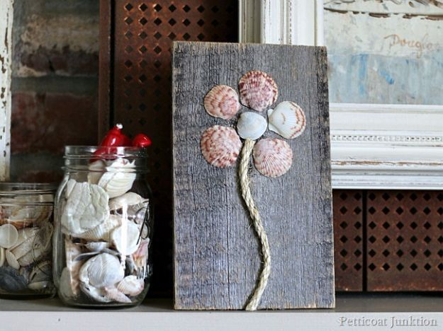 DIY Ideas With Sea Shells - Seashell Flower Art - Best Cute Sea Shell Crafts for Adults and Kids - Easy Beach House Decor Ideas With Sand and Large Shell Art - Wall Decor and Home, Bedroom and Bath - Cheap DIY Projects Make Awesome Homemade Gifts http://diyjoy.com/diy-ideas-sea-shells