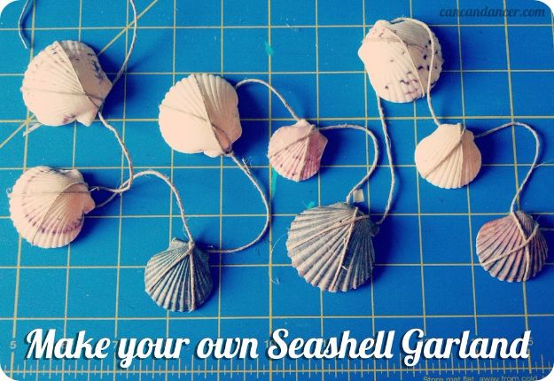 DIY Ideas With Sea Shells - Seashell Garland - Best Cute Sea Shell Crafts for Adults and Kids - Easy Beach House Decor Ideas With Sand and Large Shell Art - Wall Decor and Home, Bedroom and Bath - Cheap DIY Projects Make Awesome Homemade Gifts http://diyjoy.com/diy-ideas-sea-shells