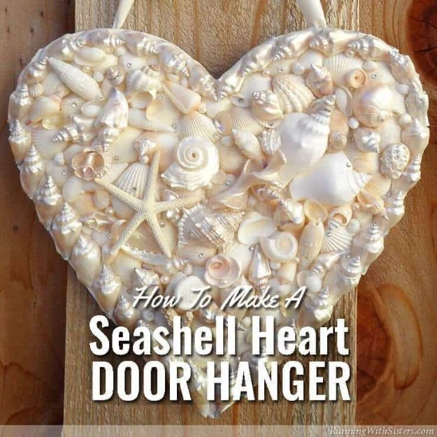 DIY Ideas With Sea Shells - Seashell Heart Door Hanger - Best Cute Sea Shell Crafts for Adults and Kids - Easy Beach House Decor Ideas With Sand and Large Shell Art - Wall Decor and Home, Bedroom and Bath - Cheap DIY Projects Make Awesome Homemade Gifts http://diyjoy.com/diy-ideas-sea-shells
