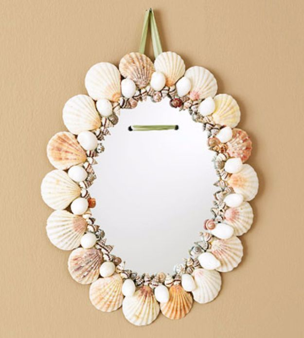 DIY Ideas With Sea Shells - Seashell Mirror - Best Cute Sea Shell Crafts for Adults and Kids - Easy Beach House Decor Ideas With Sand and Large Shell Art - Wall Decor and Home, Bedroom and Bath - Cheap DIY Projects Make Awesome Homemade Gifts http://diyjoy.com/diy-ideas-sea-shells