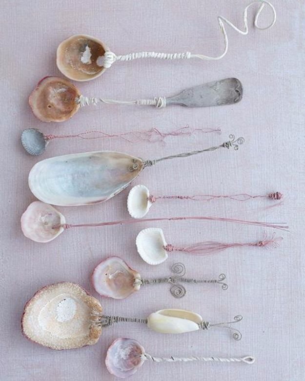 DIY Ideas With Sea Shells - Seashell Spoons - Best Cute Sea Shell Crafts for Adults and Kids - Easy Beach House Decor Ideas With Sand and Large Shell Art - Wall Decor and Home, Bedroom and Bath - Cheap DIY Projects Make Awesome Homemade Gifts http://diyjoy.com/diy-ideas-sea-shells