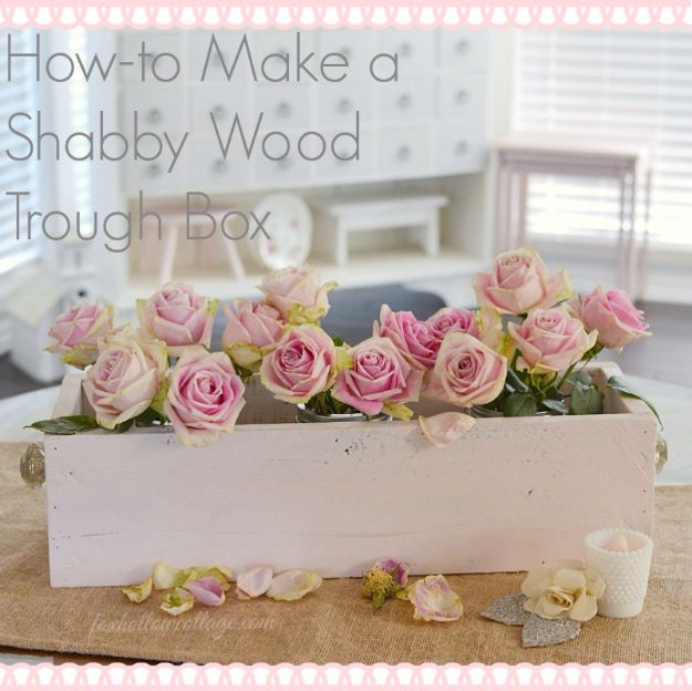 Best DIY Home Decor Crafts - Shabby Wood Trough Box - Easy Craft Ideas To Make From Dollar Store Items - Cheap Wall Art, Easy Do It Yourself Gifts, Modern Wall Art On A Budget, Tabletop and Centerpiece Tutorials - Cool But Affordable Room and Home Decor With Step by Step Tutorials #diyhomedecor