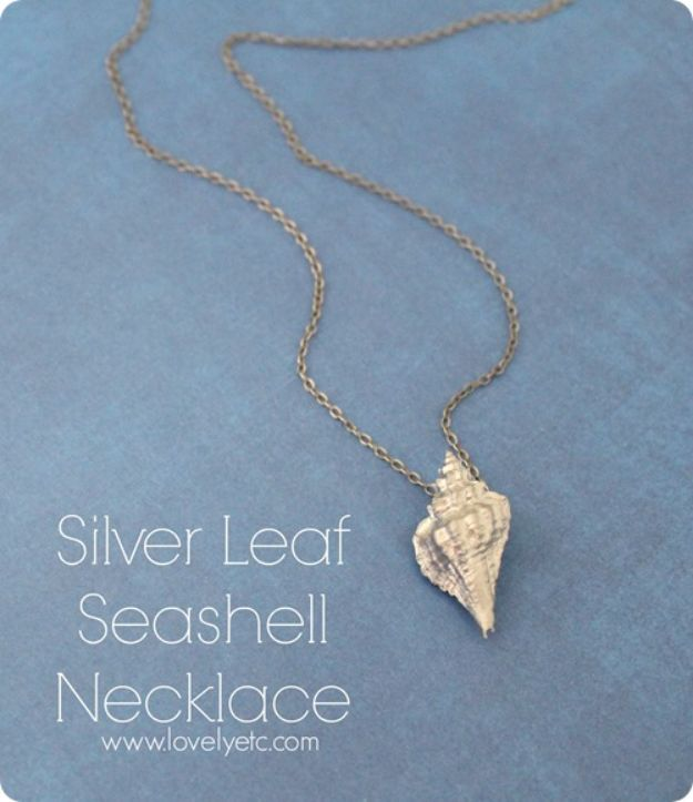 DIY Ideas With Sea Shells - Silver Leaf Seashell Necklace - Best Cute Sea Shell Crafts for Adults and Kids - Easy Beach House Decor Ideas With Sand and Large Shell Art - Wall Decor and Home, Bedroom and Bath - Cheap DIY Projects Make Awesome Homemade Gifts http://diyjoy.com/diy-ideas-sea-shells