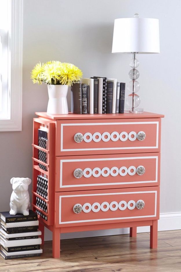 IKEA Hacks For The Bedroom - Silver Washers Nightstand - Best IKEA Furniture Hack Ideas for Bed, Storage, Nightstnad, Closet System and Storage, Dresser, Vanity, Wall Art and Kids Rooms - Easy and Cheap DIY Projects for Affordable Room and Home Decor http://diyjoy.com/ikea-hacks-bedroom