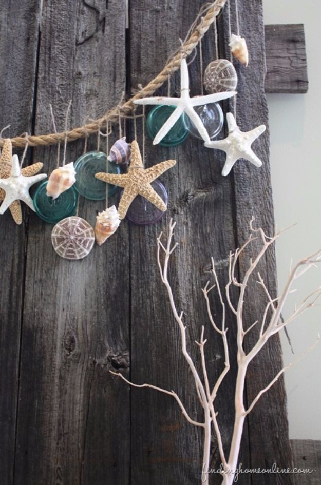 DIY Ideas With Sea Shells - Simple Beach Garland - Best Cute Sea Shell Crafts for Adults and Kids - Easy Beach House Decor Ideas With Sand and Large Shell Art - Wall Decor and Home, Bedroom and Bath - Cheap DIY Projects Make Awesome Homemade Gifts http://diyjoy.com/diy-ideas-sea-shells