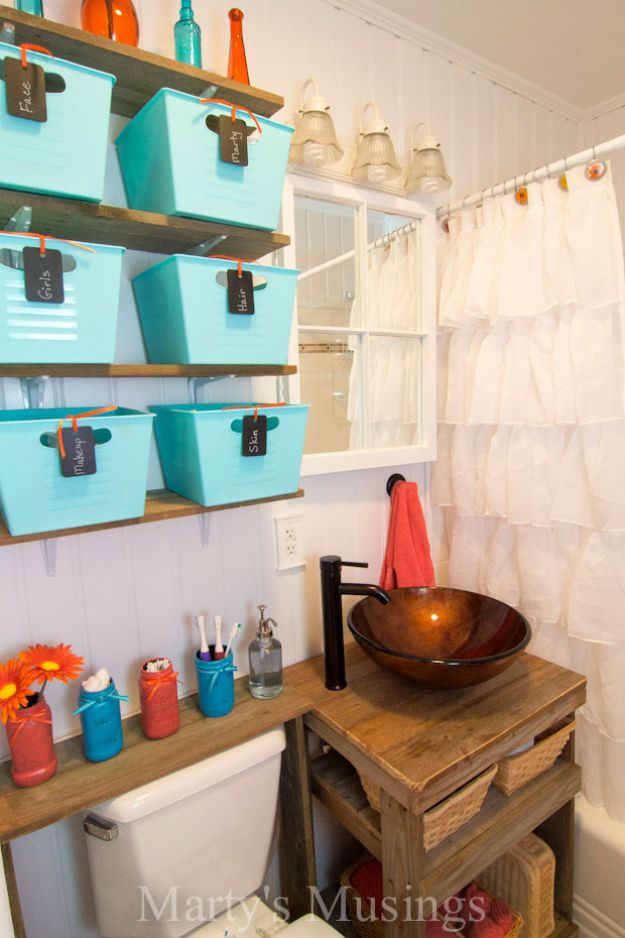 DIY Bathroom Storage Ideas - Simple Bins With Labels - Best Solutions for Under Sink Organization, Countertop Jars and Boxes, Counter Caddy With Mason Jars, Over Toilet Ideas and Shelves, Easy Tips and Tricks for Small Spaces To Organize Bath Products #storageideas #diybathroom #bathroomdecor
