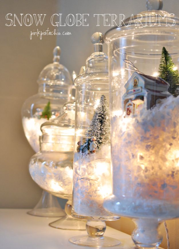 Cheap DIY Christmas Decor Ideas and Holiday Decorating On A Budget - Snow Globe Terrariums - Easy and Quick Decorating Ideas for The Holidays - Cool Dollar Store Crafts for Xmas Decorating On A Budget - wreaths, ornaments, bows, mantel decor, front door, tree and table centerpieces #christmas #diy #crafts
