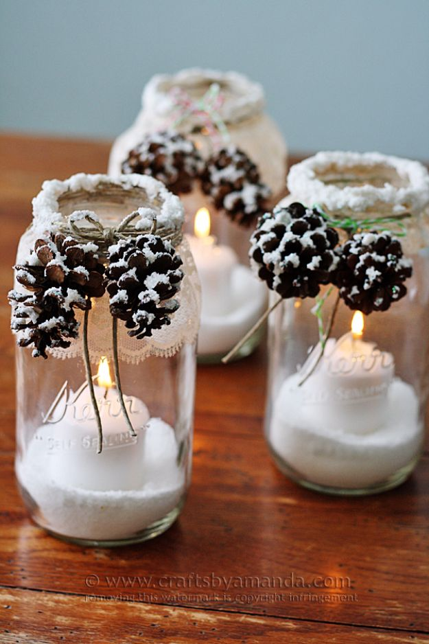 Cheap DIY Christmas Decor Ideas and Holiday Decorating On A Budget - Snowy Pinecone Candle Jars - Easy and Quick Decorating Ideas for The Holidays - Cool Dollar Store Crafts for Xmas Decorating On A Budget - wreaths, ornaments, bows, mantel decor, front door, tree and table centerpieces #christmas #diy #crafts