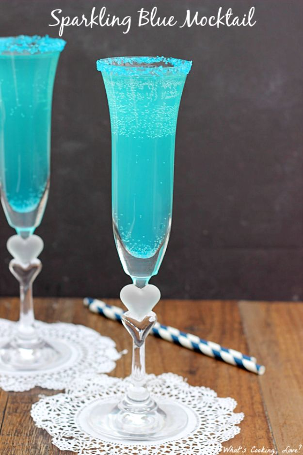 Best Drink Recipes for New Years Eve - Sparkling Blue Mocktail - Creative Cocktails, Drinks, Champagne Toasts, and Punch Mixes for A New Year's Eve Party - Ideas for Serving, Glasses, Fun Ideas for Shots and Cocktails - Easy Vodka Recipes, Non Alcoholic, Whisky Rum and Party Punches #newyearseve