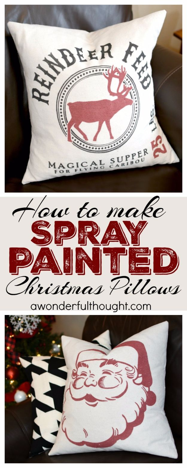 Cheap DIY Christmas Decor Ideas and Holiday Decorating On A Budget - Spray Painted Christmas Pillows - Easy and Quick Decorating Ideas for The Holidays - Cool Dollar Store Crafts for Xmas Decorating On A Budget - wreaths, ornaments, bows, mantel decor, front door, tree and table centerpieces - best ideas for beautiful home decor during the holidays http://diyjoy.com/cheap-diy-christmas-decor