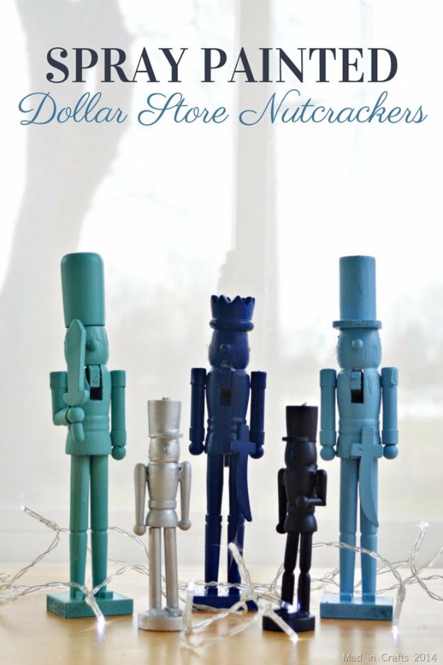 Cheap DIY Christmas Decor Ideas and Holiday Decorating On A Budget - Spray Painted Dollar Store Nutcrackers - Easy and Quick Decorating Ideas for The Holidays - Cool Dollar Store Crafts for Xmas Decorating On A Budget - wreaths, ornaments, bows, mantel decor, front door, tree and table centerpieces #christmas #diy #crafts