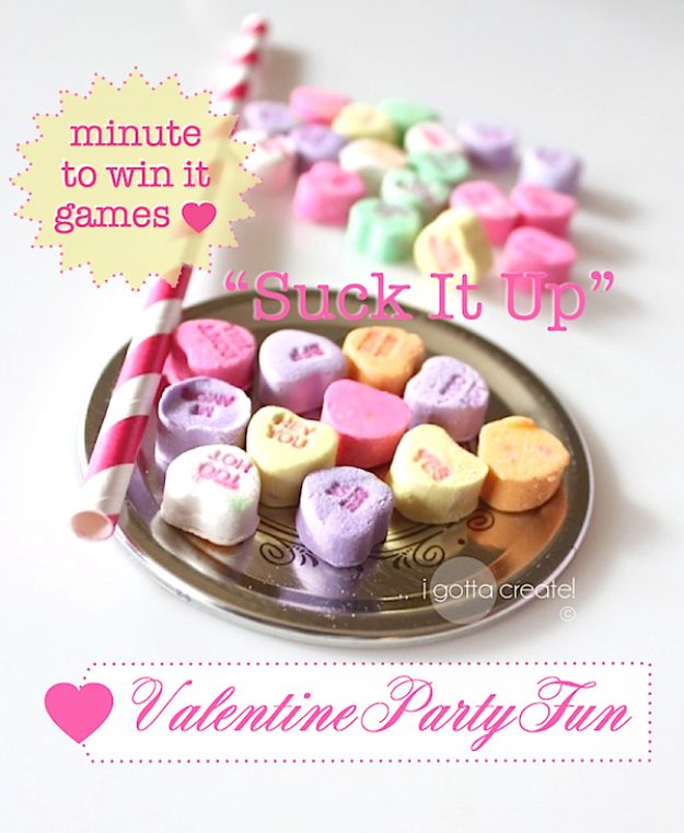Cool Games To Make for Valentines Day - Suck it Up Valentine Minute to Win It Game - Cheap and Easy Crafts For Valentine Parties - Ideas for Kids and Adults to Play Bingo, Matching, Free Printables and Cute Game Projects With Hearts, Red and Pink Art Ideas - Adorable Fun for The Holiday Celebrations #valentine #valentinesday