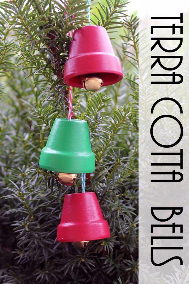 Cheap DIY Christmas Decor Ideas and Holiday Decorating On A Budget - Terra Cotta Bells - Easy and Quick Decorating Ideas for The Holidays - Cool Dollar Store Crafts for Xmas Decorating On A Budget - wreaths, ornaments, bows, mantel decor, front door, tree and table centerpieces - best ideas for beautiful home decor during the holidays http://diyjoy.com/cheap-diy-christmas-decor