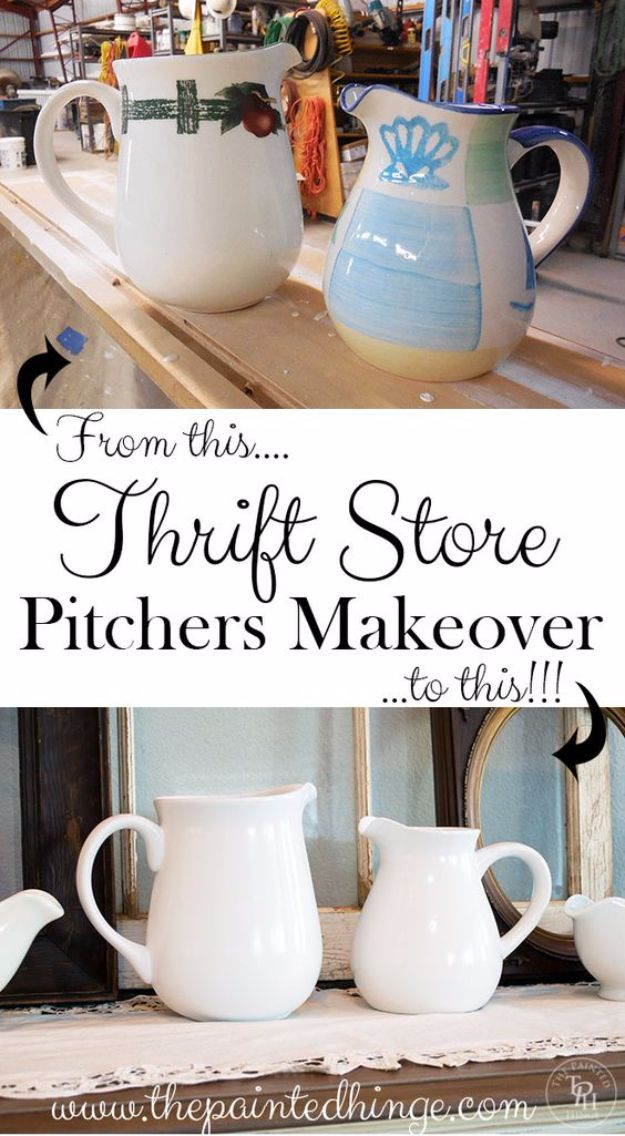 Best DIY Home Decor Crafts - Thrift Store Pitchers Makeover - Easy Craft Ideas To Make From Dollar Store Items - Cheap Wall Art, Easy Do It Yourself Gifts, Modern Wall Art On A Budget, Tabletop and Centerpiece Tutorials - Cool But Affordable Room and Home Decor With Step by Step Tutorials #diyhomedecor