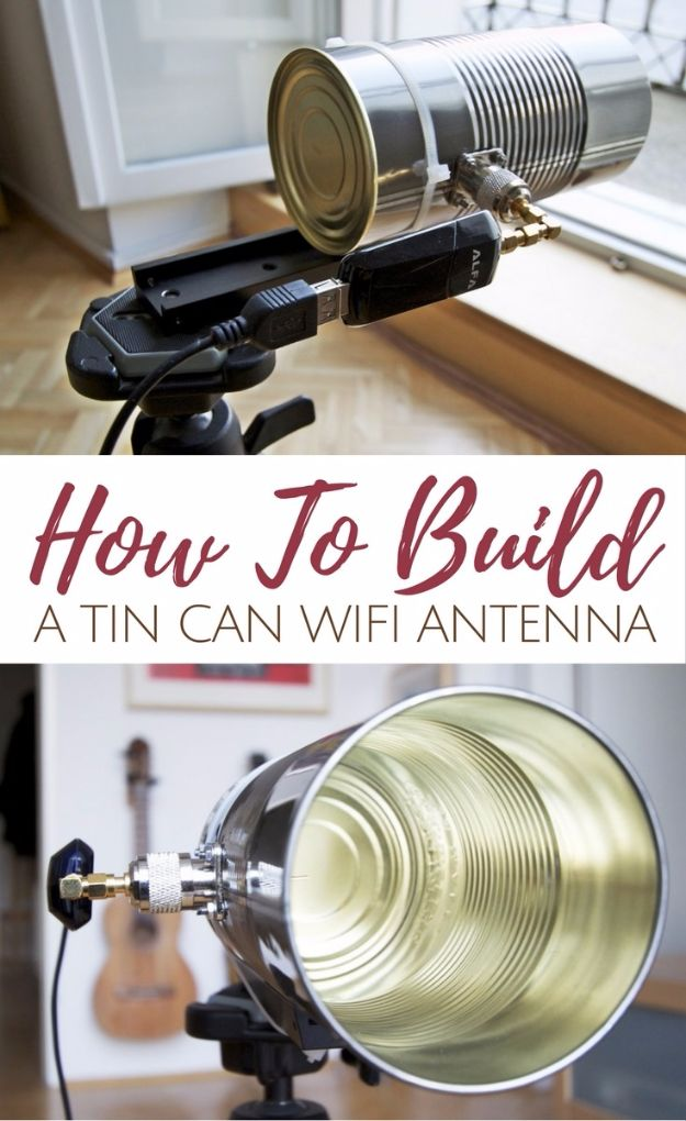 DIY Gadgets - Tin Can Wifi Antenna - Homemade Gadget Ideas and Projects for Men, Women, Teens and Kids - Steampunk Inventions, How To Build Easy Electronics, Cool Spy Gear and Do It Yourself Tech Toys