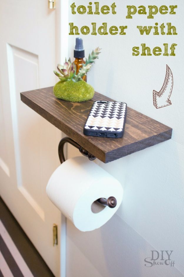 DIY Bathroom Storage Ideas - Toilet Paper Holder Shelf And Bathroom Accessories - Best Solutions for Under Sink Organization, Countertop Jars and Boxes, Counter Caddy With Mason Jars, Over Toilet Ideas and Shelves, Easy Tips and Tricks for Small Spaces To Organize Bath Products http://diyjoy.com/diy-bathroom-storage-ideas