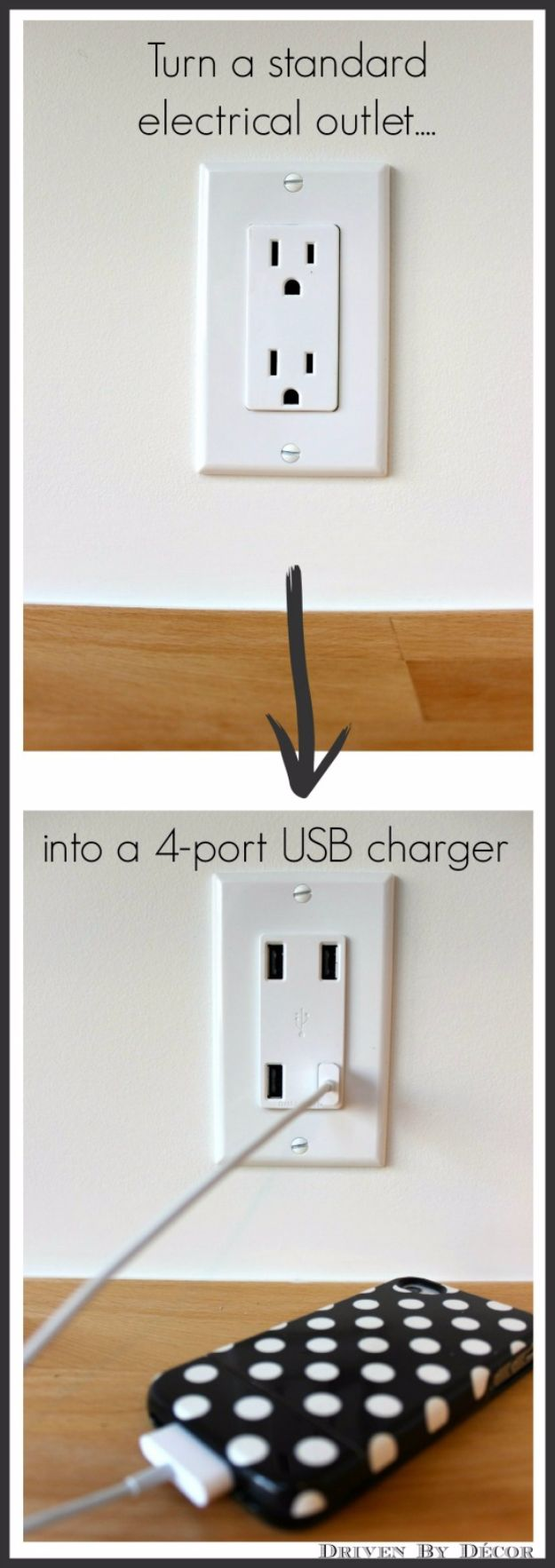 DIY Gadgets - Turn A Standard Electrical Outlet Into A 4-Port USB Charger - Homemade Gadget Ideas and Projects for Men, Women, Teens and Kids - Steampunk Inventions, How To Build Easy Electronics, Cool Spy Gear and Do It Yourself Tech Toys http://diyjoy.com/diy-gadgets