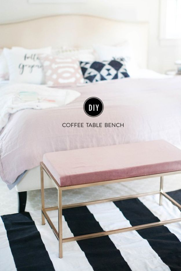IKEA Hacks For The Bedroom - Turn an Ikea Coffee Table Into the Bedroom Bench of Your Dreams - Best IKEA Furniture Hack Ideas for Bed, Storage, Nightstand, Closet System and Storage, Dresser, Vanity, Wall Art and Kids Rooms - Easy and Cheap DIY Projects for Affordable Room and Home Decor #ikeahacks #diydecor #bedroomdecor
