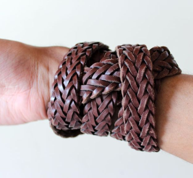 DIY Valentines Day Gifts for Him - Upcycled Leather Bracelet - Cool and Easy Things To Make for Your Husband, Boyfriend, Fiance - Creative and Cheap Do It Yourself Projects to Give Your Man - Ideas Guys Love These Ideas for Car, Yard, Home and Garage - Make, Don't Buy Your Valentine