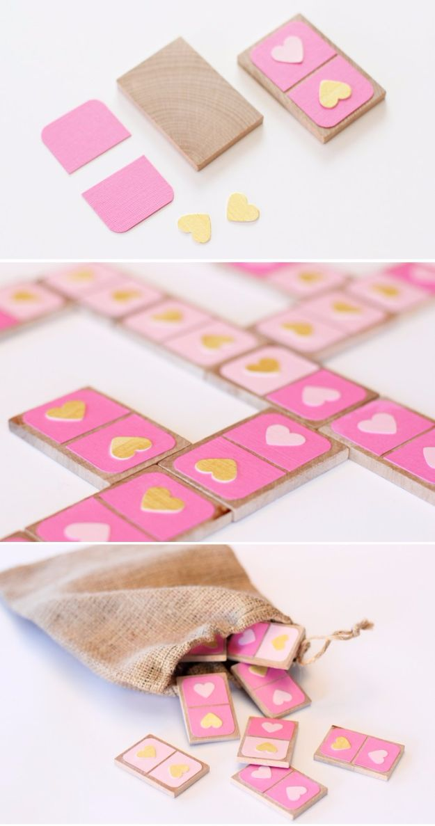 DIY Valentines Day Gifts for Her - Valentine's Day Dominoes - Cool and Easy Things To Make for Your Wife, Girlfriend, Fiance - Creative and Cheap Do It Yourself Projects to Give Your Girl - Ladies Love These Ideas for Bath, Yard, Home and Kitchen, Outdoors - Make, Don't Buy Your Valentine http://diyjoy.com/diy-valentines-gifts-her