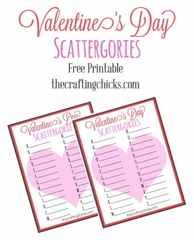 Cool Games To Make for Valentines Day - Valentine's Day Scattergories - Cheap and Easy Crafts For Valentine Parties - Ideas for Kids and Adults to Play Bingo, Matching, Free Printables and Cute Game Projects With Hearts, Red and Pink Art Ideas - Adorable Fun for The Holiday Celebrations #valentine #valentinesday