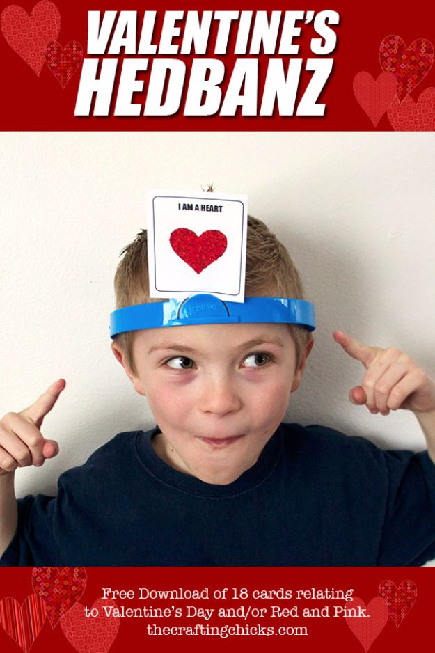 Cool Games To Make for Valentines Day - Valentine's HedBanz - Cheap and Easy Crafts For Valentine Parties - Ideas for Kids and Adults to Play Bingo, Matching, Free Printables and Cute Game Projects With Hearts, Red and Pink Art Ideas - Adorable Fun for The Holiday Celebrations #valentine #valentinesday
