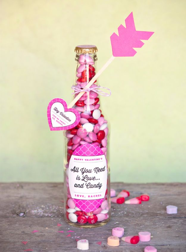 DIY Valentines Day Gifts for Him - Valentine Candy Bottles - Cool and Easy Things To Make for Your Husband, Boyfriend, Fiance - Creative and Cheap Do It Yourself Projects to Give Your Man - Ideas Guys Love These Ideas for Car, Yard, Home and Garage - Make, Don't Buy Your Valentine