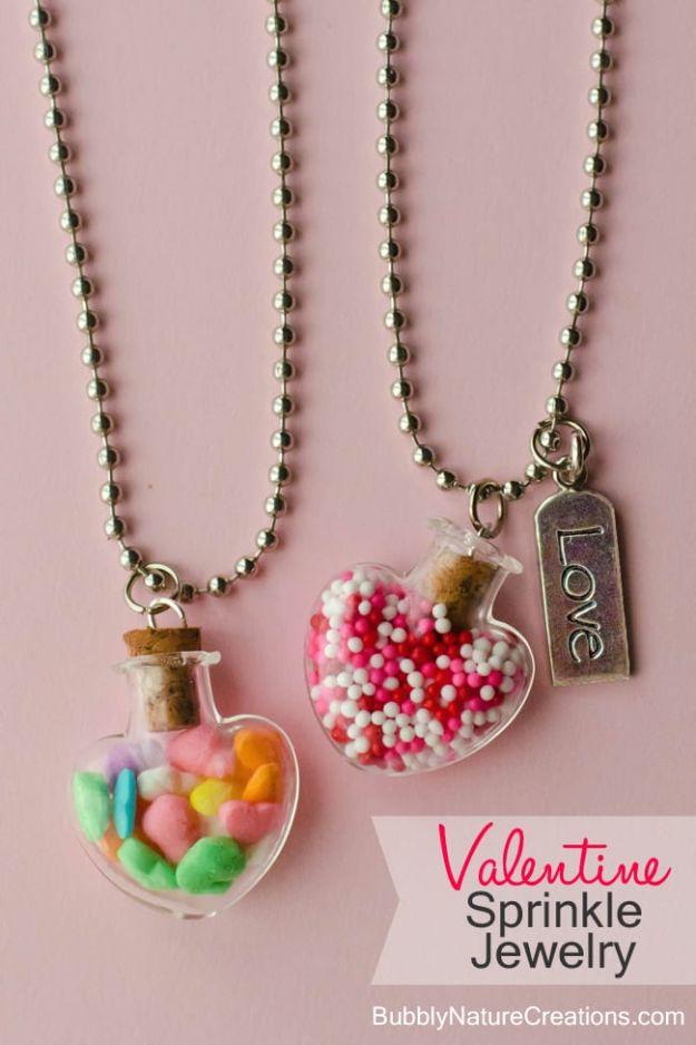 DIY Valentines Day Gifts for Her - Valentine Sprinkle Jewelry - Cool and Easy Things To Make for Your Wife, Girlfriend, Fiance - Creative and Cheap Do It Yourself Projects to Give Your Girl - Ladies Love These Ideas for Bath, Yard, Home and Kitchen, Outdoors - Make, Don't Buy Your Valentine http://diyjoy.com/diy-valentines-gifts-her