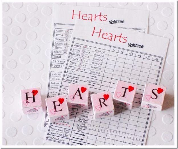 Cool Games To Make for Valentines Day - Valentines Yahtzee Game - Cheap and Easy Crafts For Valentine Parties - Ideas for Kids and Adults to Play Bingo, Matching, Free Printables and Cute Game Projects With Hearts, Red and Pink Art Ideas - Adorable Fun for The Holiday Celebrations #valentine #valentinesday